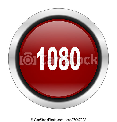 1080 icon, red round button isolated on white background, web design illustration - csp37047992