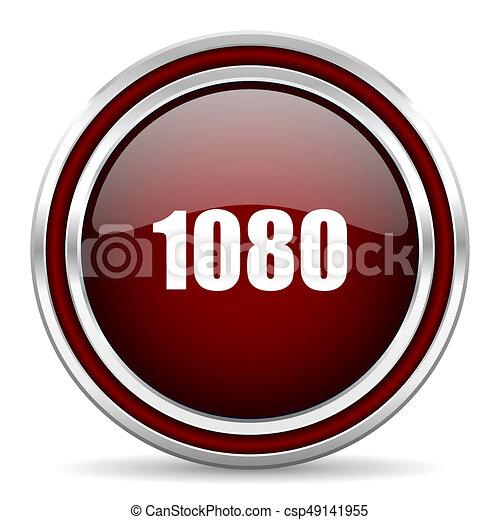 1080 red glossy icon. Chrome border round web button. Silver metallic pushbutton. - csp49141955