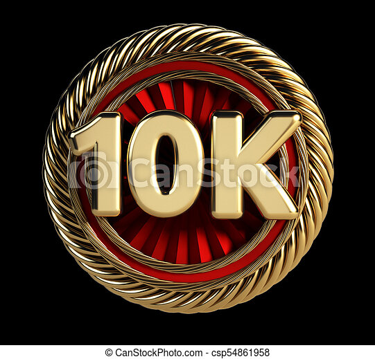 10k golden badge 10 thousand followers web icon 3d rendering