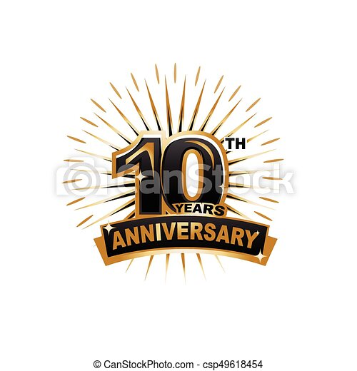 10th Anniversary Illustration Ten Years Anniversary Gold Badge