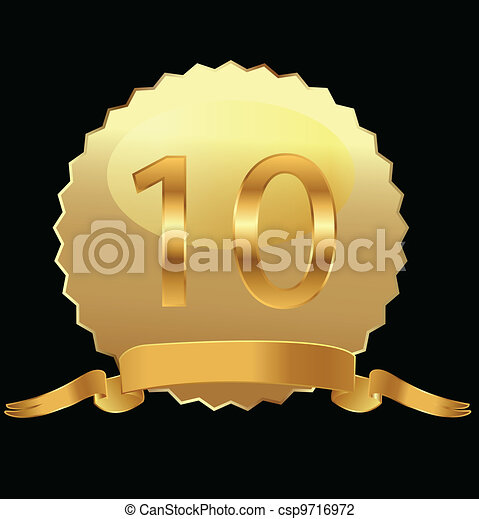 10th anniversary in gold seal  - csp9716972