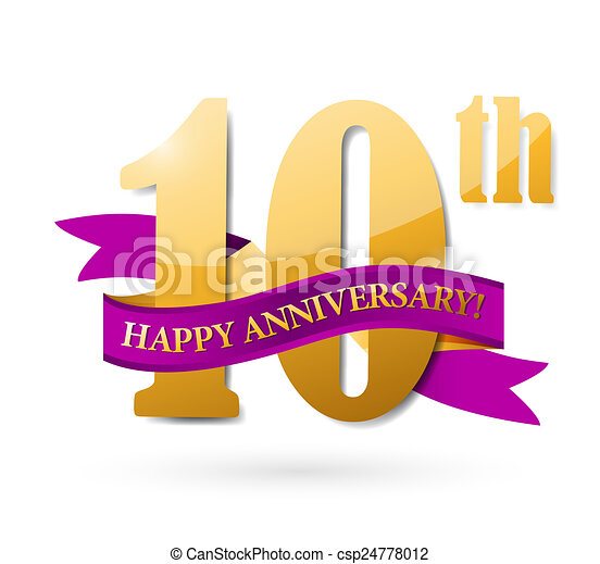 10th anniversary ribbon illustration design over a white background rh canstockphoto com Church Anniversary Clip Art 50th Anniversary Logos Clip Art