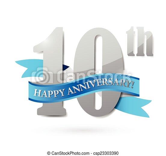 10th anniversary ribbon sign illustration - csp23303390