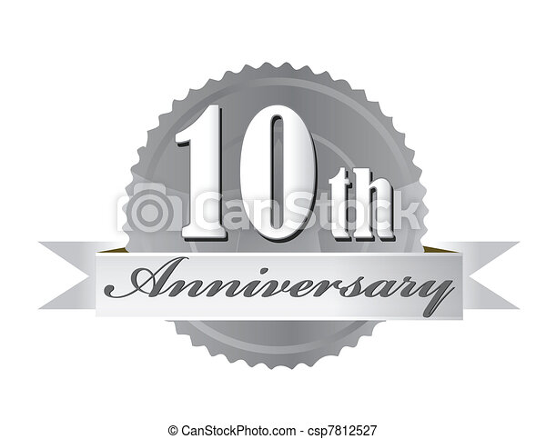 10th anniversary seal illustration  - csp7812527