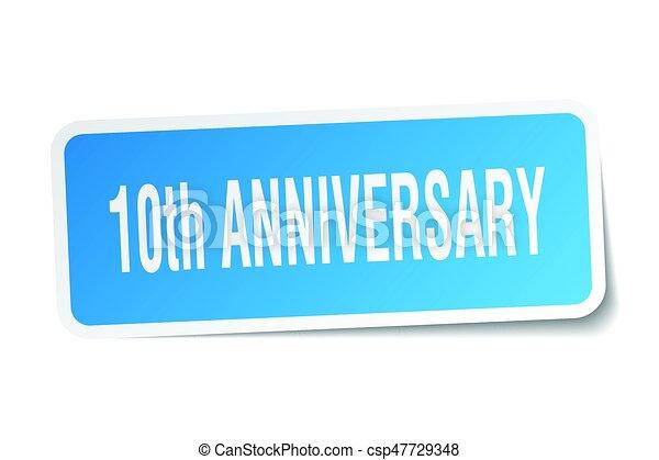 10th anniversary square sticker on white - csp47729348