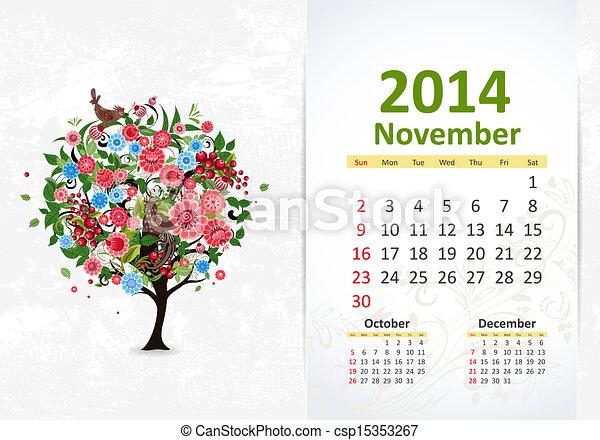 11 月, カレンダー, 2014 - csp15353267