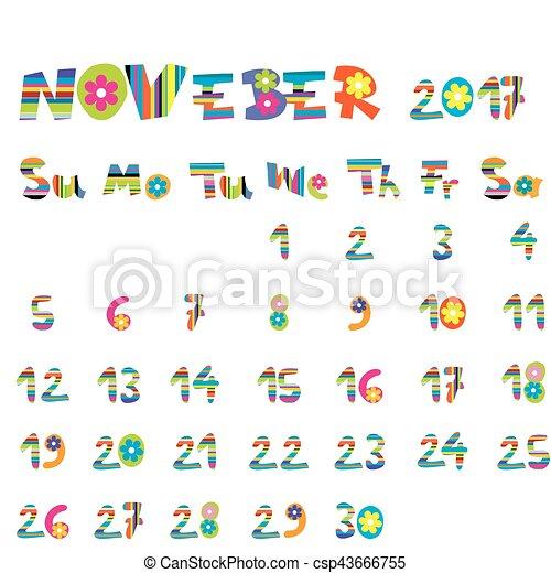 11 月 2017 カレンダー かわいい カレンダー 子供 11 月 2017