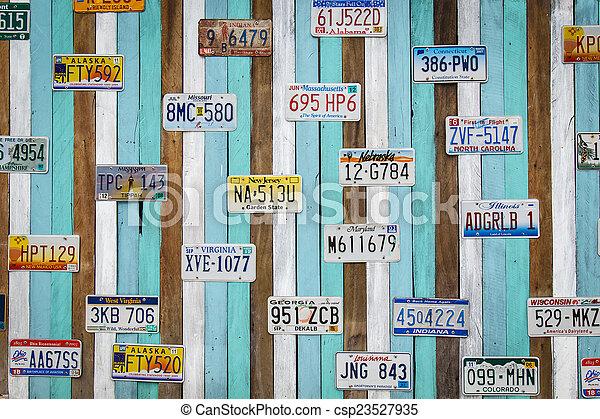 11, cha, vieux, woode, aug, plaque, voiture, thailand-, nous, enregistrement, : - csp23527935