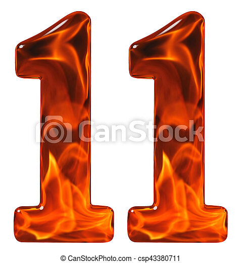 11, eleven, numeral from glass with an abstract pattern of a flaming fire,