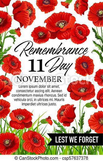 11 November Poppy Remembrance Day Vector Card 11 November Poppy