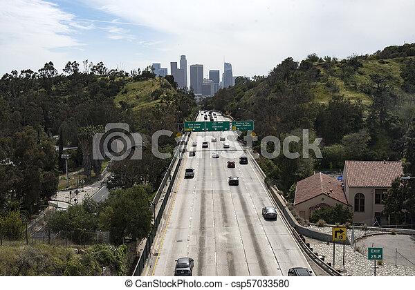 110 Freeway into Los Angeles - csp57033580