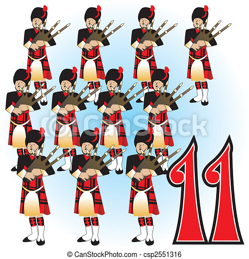 11th day of christmas the 12 days of christmas clip art vector rh canstockphoto ie 12 days of christmas web clipart 12 days of christmas clipart free