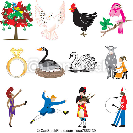 12 days of christmas vector illustration card of the 12 days of rh canstockphoto ca Twelve Days of Christmas Religious Clip Art 12 days of christmas clipart free