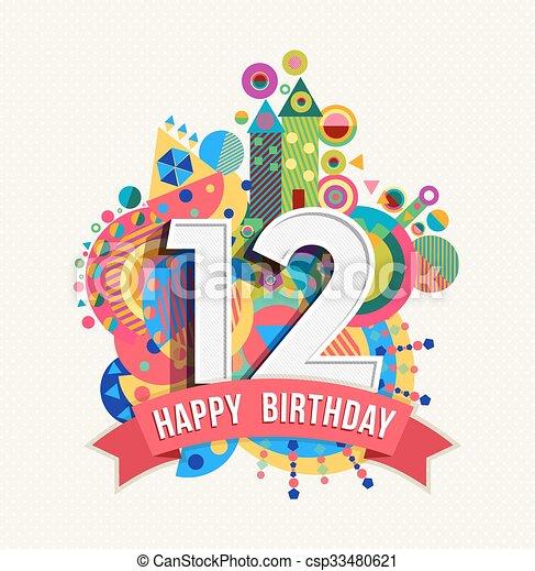 12 års fest 12, farve, plakat, hils, fødselsdag, år, card, glade. Tolv, 12  12 års fest