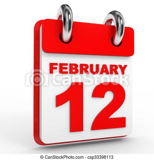 12 february calendar on white background. 3d illustration. clipart - Search Illustration ...