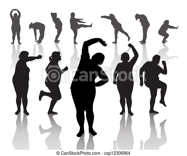12 figures of thick women - csp12306964