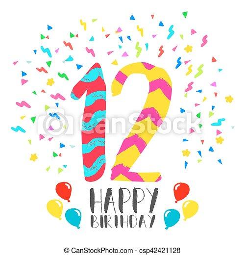 12 års fest 12, invitation, fødselsdag, år, gilde, card, glade. Tolv  12 års fest
