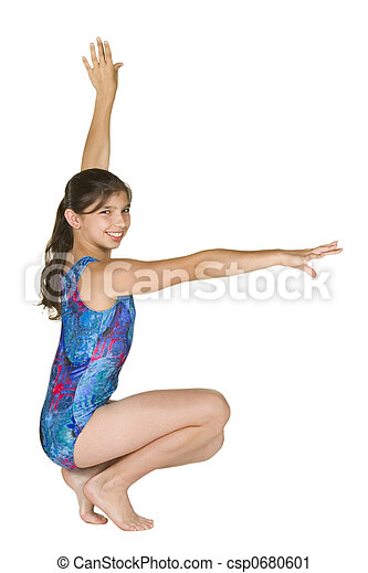 12 year old girl in gymnastics poses - csp0680601