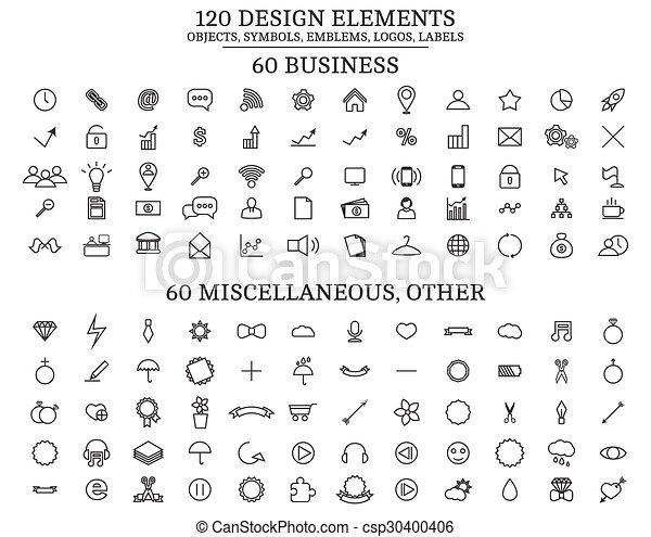 120 Design Elements , Objects, symbols, emblems, logos, labels - csp30400406
