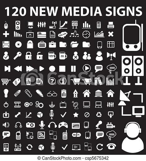 120 new media signs - csp5675342
