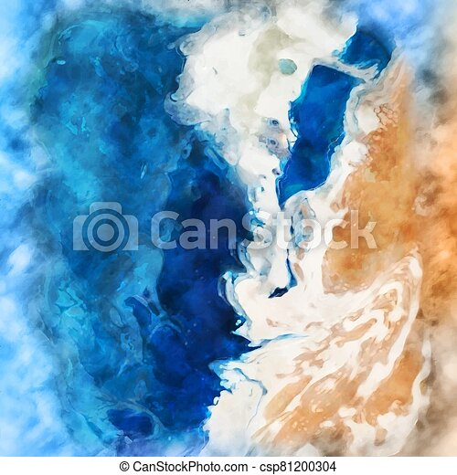 1205, pintado, escena, acuarela, mano, playa, plano de fondo - csp81200304