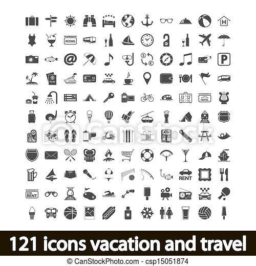 121, viaggiare, vacanza, icone - csp15051874