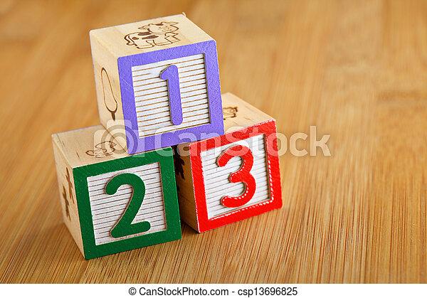 123 wooden alphabet block - csp13696825