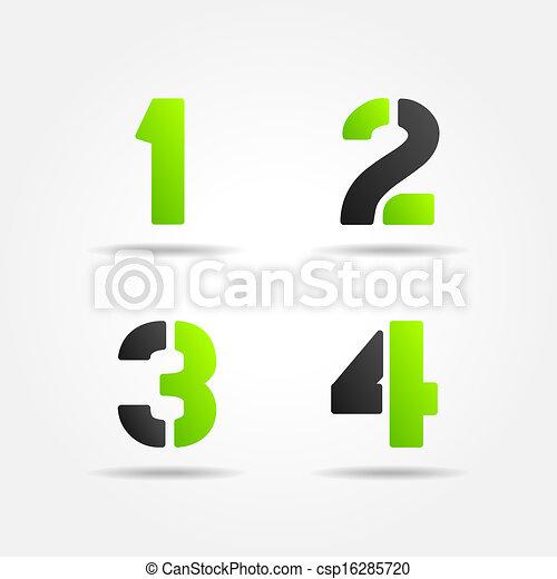 1234, estêncil, verde, números, 3d - csp16285720
