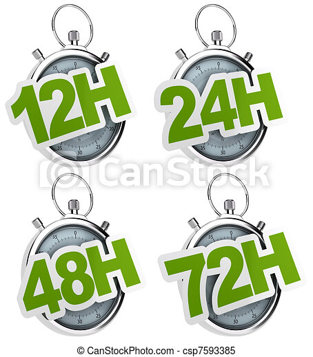12H, 24H, 48H, 72H sticker over a gray stopwatch, image isolated over a white background - csp7593385