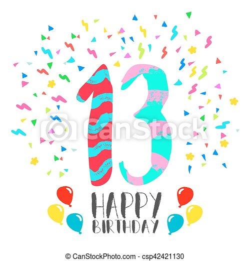 fest 13 år 13, invitation, fødselsdag, år, gilde, card, glade. Gilde  fest 13 år
