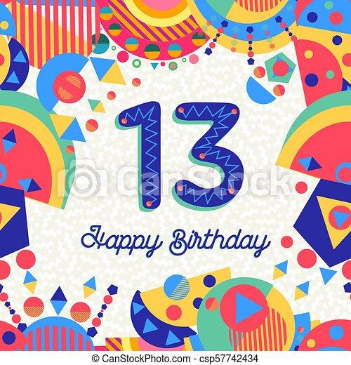 13 Saludo Numero Cumpleanos Trece Ano Tarjeta 13 Eps10 Card