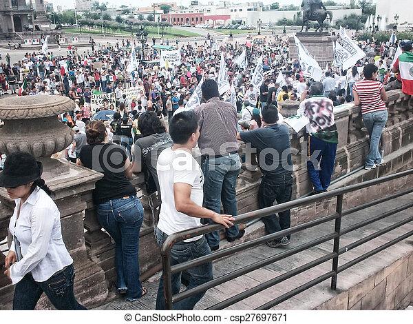 132, protestera, mars, rörelse - csp27697671