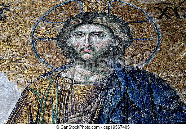 13th century Deesis Mosaic of Jesus Christ (known as Christ Pantocrator ) flanked by the Virgin Mary and John the Baptist in the Hagia Sophia mosque in Istanbul, Turkey - csp19567405