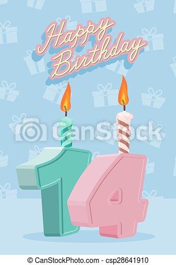 14 års fest 14, år, 14nd, fødselsdag fejren, glade. 14, illustration, år, 14nd  14 års fest