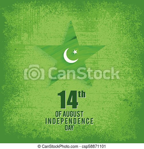 14 August. Pakistan Independence Day. Celebration Card. Vector Illustration. Scribbled Star - csp58871101