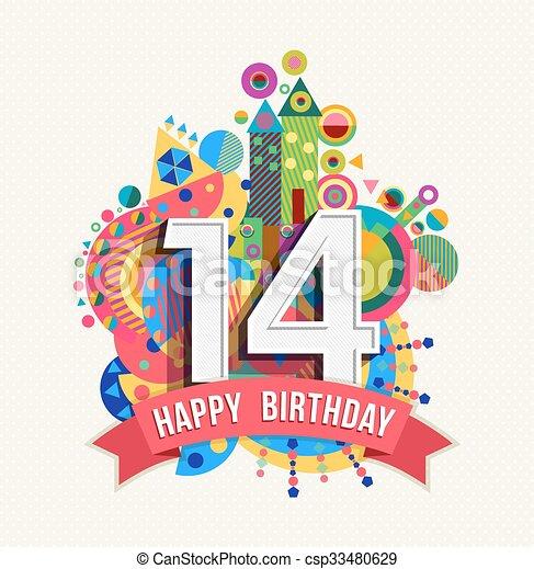 14 års fest 14, farve, plakat, hils, fødselsdag, år, card, glade. Fjorten  14 års fest