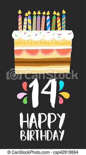 14 års fest 14, fjorten, fødselsdag, år, kage, gilde, card, glade. Fjorten  14 års fest