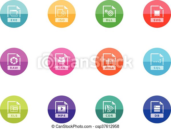 14, iconen, -, bestand, formaten, cirkel - csp37612958