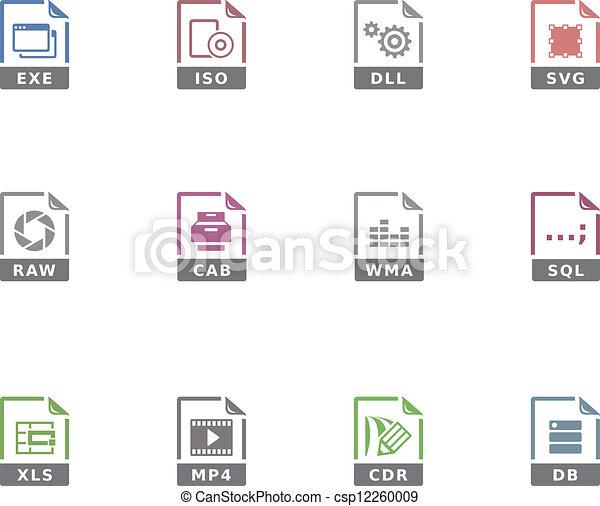14, iconen, -, duotone, bestand, formaten - csp12260009