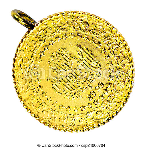 1/4 Turkish Gold coin necklace. Front - csp24000704