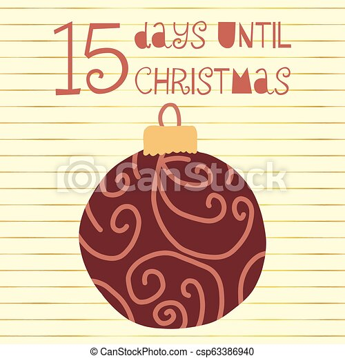 Days Until Christmas.15 Days Until Christmas Vector Illustration Christmas Countdown 15 Days Til Santa Vintage Scandinavian Style Hand Drawn Ornament Holiday Design Set