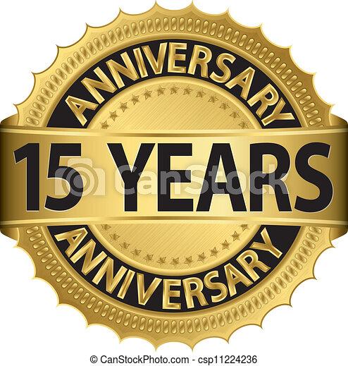 15 Jahre goldenes Etikett - csp11224236