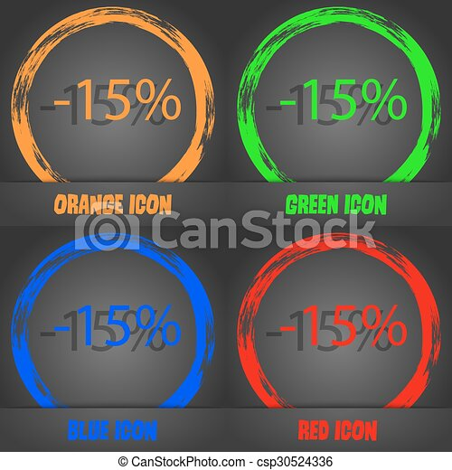15 percent discount sign icon. Sale symbol. Special offer label. Fashionable modern style. In the orange, green, blue, red design. Vector - csp30524336