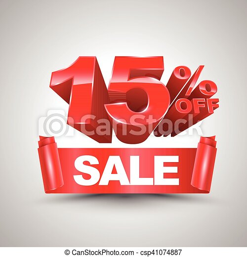 15 percent off sale red ribbon banner roll 3D style. - csp41074887
