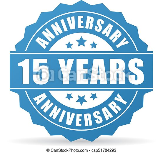 15 Years Anniversary Celebration Vector Icon On White Background