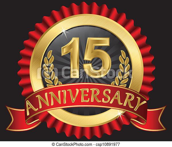 15 years anniversary golden - csp10891977