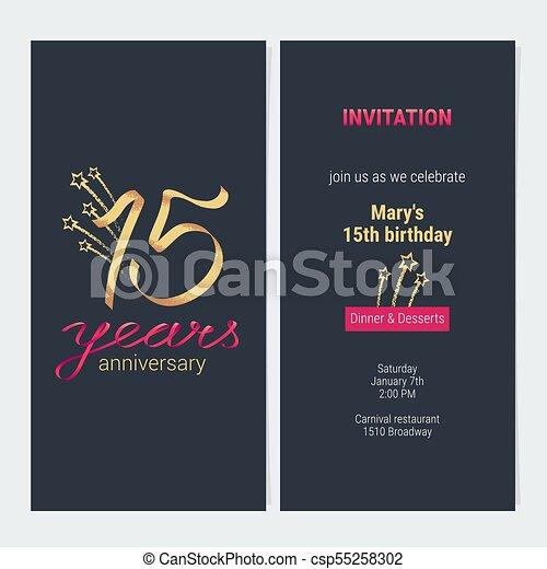 15 Years Anniversary Invitation Card Vector 15 Years Anniversary