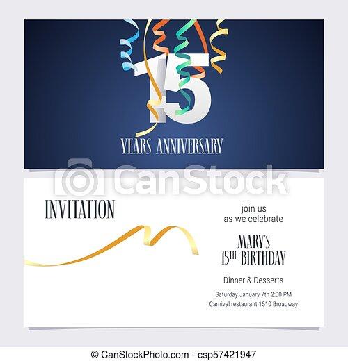 15 Years Anniversary Invitation Vector 15 Years Anniversary