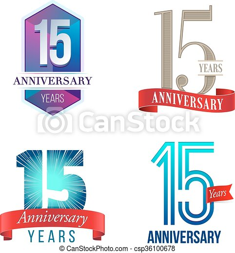 15 Years Anniversary Logo A Set Of Symbols Representing A Fifteenth