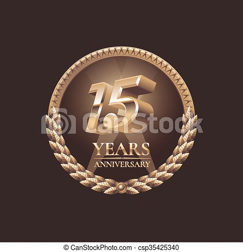 15 Years Anniversary Vector Icon 15th Celebration Design Golden